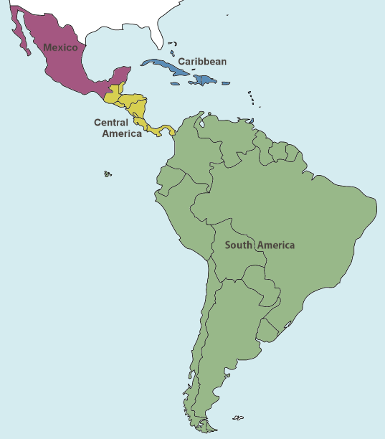 Map indicating regions of  Latin America